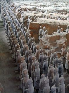 The Terracotta Army, discovered in 1974 by some local villagers in Xi'an, China - It is a form of funerary art buried with the emperor in 210–209 BC and whose purpose was to protect the emperor in his afterlife.