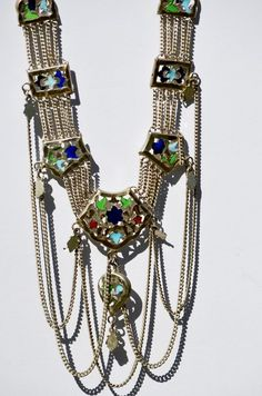 Art Deco Style Central Asian Festoon Tribal Necklace Blue and Green Enamel #Asian #Tribal