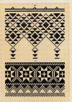 Embroidery from Northern Left-Bank Ukraine, Sumy, Chernyhiw and Starodub regions Cross Stitch Borders, Cross Stitching, Cross Stitch Embroidery, Cross Stitch Patterns, Knitting Charts, Knitting Stitches, Knitting Patterns, Embroidery Transfers, Embroidery Patterns