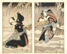 The Love Suicides at Sonezaki,by Chikamatsu Monzaemon , Scene from a Kabuki Play, ca. 1842