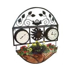 Garden Accessory Decorative Wall Planter Vintage Traditional Clock Thermometer