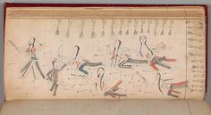 """Maffet Ledger circa 1874-1881 from Southern and Northern Cheyenne. Credit Line:  The Michael C. Rockefeller Memorial Collection, Purchase, Nelson A. Rockefeller Gift, 1968...part of the exhibition """"The Plains Indians: Artists of Earth and Sky"""""""