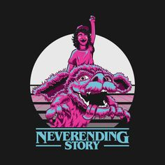 Shop Neverending Things - A Neverending Story - Stranger Things Mash Up T-shirt stranger things t-shirts designed by stuffofkings as well as other stranger things merchandise at TeePublic. Stranger Things Merchandise, Stranger Things Funny, Neverending Story 2, Cartoon Icons, Neon Colors, Spiderman, Nerd, Thing 1, Fan Art