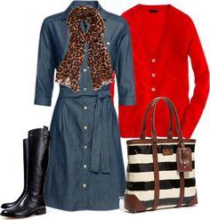 """Chambray shirt dress"" by luv2shopmom on Polyvore"