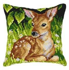 Appealing cushion front kits worked in cross stitches on painted canvas, these striking designs will add a delightful accent to your home interior. Cross Stitch Needles, Cross Stitch Charts, Cross Stitch Patterns, Cross Stitches, Pillow Embroidery, Cross Stitch Embroidery, Cross Stitch Animals, Cross Stitch Flowers, Small Deer