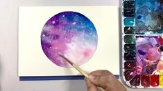 Step by step process for painting this beautiful dreamy moon in watercolor. illustration watercolor Dreamy Moon - Step by Step Watercolor Watercolor Video, Watercolor Galaxy, Watercolor Paintings, Watercolor Drawing, Moon Painting, Galaxy Painting, Illustration Art Drawing, Art Drawings, Watercolor Illustration Tutorial