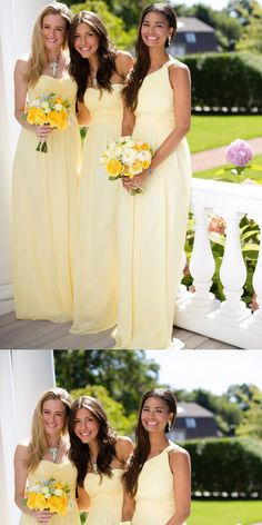 Yellow Chiffon Simple Strapless Cheap Long For Wedding Party ,Bridesmaid Dresses,WGY0139#bridesmaid dresses#