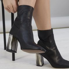 More supportive than a sandal, these ankle boots will boost your height and keep you looking stylish. Fur Heels, Heeled Boots, Ankle Boots, High Heels, Low Boots, Leather Accessories, Fashion Accessories, Topshop Maternity, Shoes Sandals