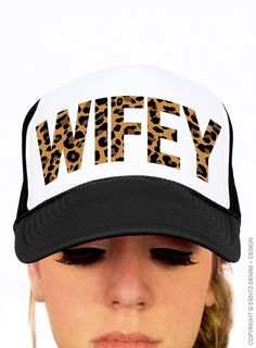 "Use coupon code ""pinterest"" Wifey Leopard Hat - Black Snapback Trucker Hat by DentzDesign"
