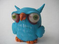 LittLe blue bird ooak owl crow clay sculpture by mealymonster, $20.00