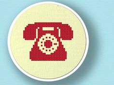 Red Telephone Silhouette. Cross Stitch PDF Pattern by andwabisabi, $2.50