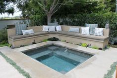 Contemporary Hot Tub with Fence, Pathway, exterior tile floors