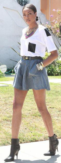 Grey Denim Skirt #Fashionistas