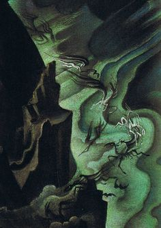 """Night on Bald Mountain"" (detail). Draft by Kay Nielsen for Disney's ""Fantasia"", 1940"