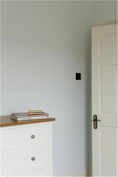 An inspirational image from Farrow and Ball Walls: Cabbage White, Estate Emulsion Trim: Wimborne White, Estate Eggshell