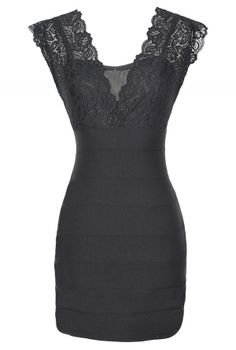 Wrapped In Lace Bodycon Dress in Black