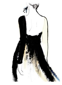 Fashion illustration - elegant couture dress sketch // Kornelia Debosz