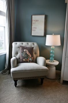Paint: Benjamin moore atmospheric. Love this color!!