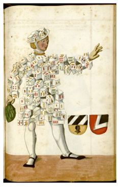 "Illustration from a century manuscript detailing the phenomenon of Nuremberg's Schembart Carnival, (literally ""bearded-mask"" carnival) Medieval Manuscript, Illuminated Manuscript, Medieval Art, Fancy Dress Ball, Effigy, Weird Fashion, Carnival Costumes, 16th Century, Illustrations"