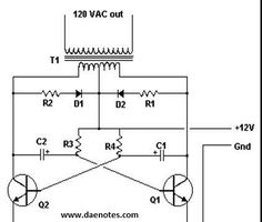 """Simple inverter DC to AC circuit design. How much power this inverter can handle the load depends the transformer """"Ampere"""" and transistors Ac Circuit, Simple Circuit, Circuit Diagram, Solar Panel Battery, Solar Panel Kits, Electrical Installation, Electrical Wiring, Electrical Engineering, Diy Electronics"""