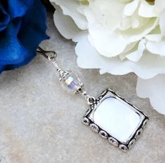 Photo charm w/crystal. Gift for the bride. by SmilingBlueDog