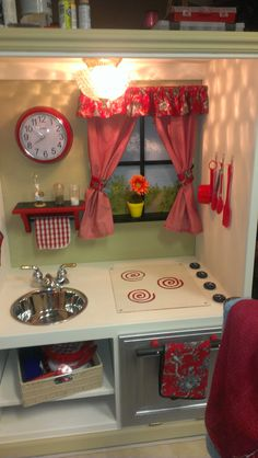 Play kitchen from entertainment center. Painted with Annie Sloan chalk paint.