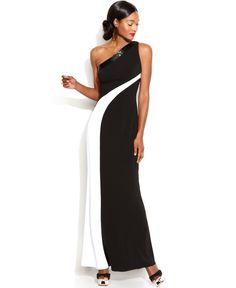 Js Boutique One-Shoulder Colorblock Gown