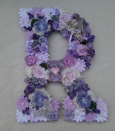 """Hand Decorated Floral Initial Monogram Letter """"R"""" Purples Kitty Cat Kitten by CaliSistersCreate on Etsy"""