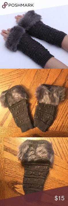 """NWOT Faux Rabbit Fur Fingerless Gloves Faux rabbit fur fingerless gloves. Dark gray. Acrylic. Length 7-1/2"""". Width 3-1/2"""". Bundle discount available. No trades. Accessories Gloves & Mittens"""