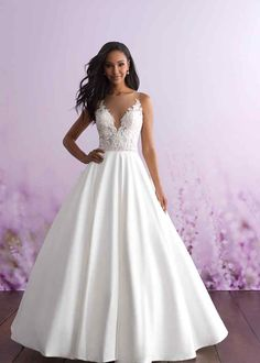 Shop the beautiful 3112 Allure Romance Wedding Dress today! Paired with a dreamy appliqued illusion bodice, this ballgown features a soft silk Mikado skirt. White Bridal Dresses, Little White Dresses, Bridal Gowns, Nice Dresses, Bridesmaid Dresses, Wedding Dress Pictures, Wedding Dress Styles, Dream Wedding Dresses, Designer Wedding Dresses