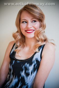 curly mid length blonde hair red lips. Photo shoot by Erik of Norway stylists