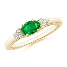 East West Set Emerald Solitaire Ring with Diamonds