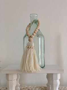 Wooden Bead Tassels Tassels Rustic Home Decor Farmhouse Wood Bead Garland, Beaded Garland, Crafts To Do, Home Crafts, Boho Diy, Christmas Wood, How To Make Beads, Wooden Beads, Tassels