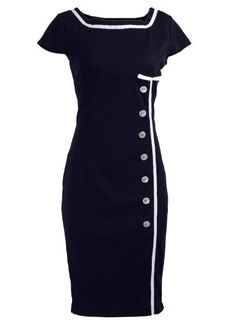 Navy Blue Sailor Nautical Pinup Rockabilly Vintage Retro Pencil Women's Dress