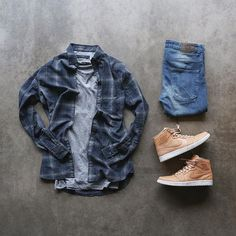 Outfit grid - Checked shirt & denim