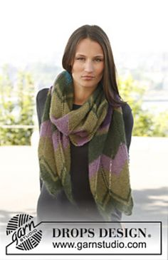 Ravelry: 141-14 Ondine - Scarf with zigzag pattern in Kid-Silk pattern by DROPS design