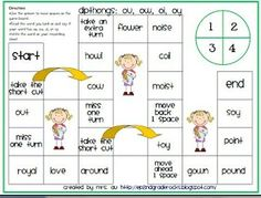 Diphthongs Oi and Oy | Dipthongs: ou, ow, oi, oy board game by lorraine