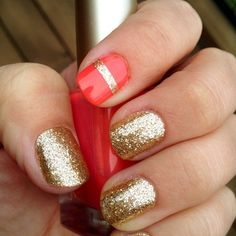 Gold nails and a stripe in between the coral on one of the accent nails is just totes Cute! Fancy Nails, Gold Nails, Cute Nails, Pretty Nails, Gold Glitter, Glitter Nails, Coral Nails, Gold Sparkle, Sparkly Nails