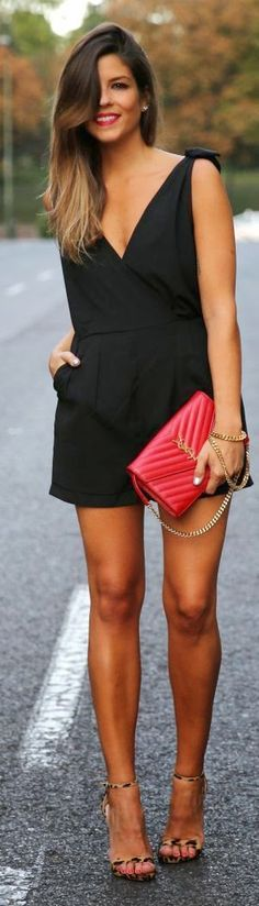 Black Short Dress with Animal Print Shoes