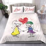 Duvet Set - LGBT - Love Wins Girls – Valued Action Lgbt Love, Duvet Sets, Pillow Inserts, Bed Sheets, Comforters, Action, Cozy, Pillows, Girls