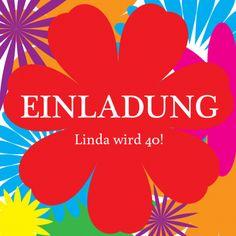 Fröhlich Bunte Einladungskarte Mit Großer Roter Blume Und Farbenfrohem  Hintergrund. (Hinweis: Für