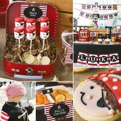 Pirate birthday ideas (love the pirate decorated marshmallows - would make cute favors)