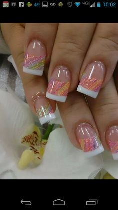Ideas Summer Manicure Ideas Classy French Tips For 2019 Fabulous Nails, Gorgeous Nails, Pretty Nails, Colorful Nail Designs, Cute Nail Designs, Colorful Nails, Get Nails, Fancy Nails, Uñas Color Neon