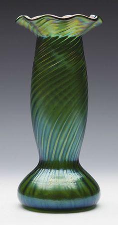 Hervorragende Jugendstil Loetz Gerippten-Schillernden Glaskunst Glas Vase / 1905
