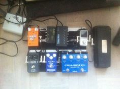 Pedalboard with early 90s Crybaby wah, Fulltone Fulldrive II, Mad Professor delay, MXR Micro Flanger, MI Effects Boost'n'Puff, TC Polytune Mini and Cioks power supplies.