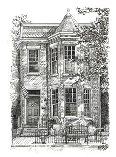 Custom House Portrait Pen and Ink - Disegni - Architecture Dream House Drawing, House Sketch, Sketches Arquitectura, Art Et Architecture, Cultural Architecture, Building Drawing, Building Sketch, Ink Pen Drawings, Perspective Drawing