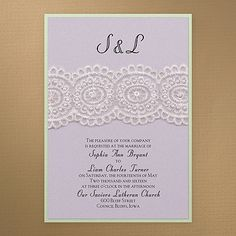 Bridal Lace & Pearls - Invitation - Pastel Purple Shimmer. Available at Persnickety Invitation Studio.