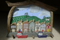 Driftwood Art Quay Scene - wall hanging - hand  painted with natural wood driftwood surround - individually handcrafted houses - (large).