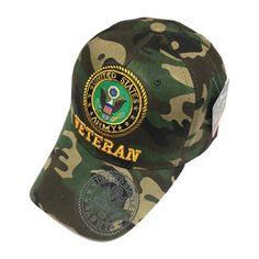 dfbe35dab53 U.S. Military United States ARMY VETERAN Green Camo Hat Men s Baseball Cap