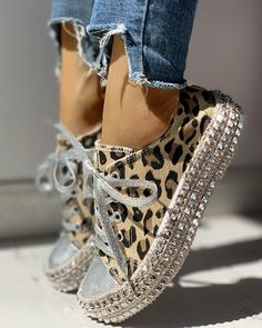 Buy Women Fashion Casual High Top Shoes Lace Up Flat Shoe Leopard Rivet Embellished Flattie Canvas Sneakers Sapatos Femininos Flats Chaussure Femme at Wish - Shopping Made Fun Trend Fashion, Estilo Fashion, Fashion Shoes, Women's Fashion, Yeezy Sneakers, Casual Sneakers, Shoes Sneakers, Sneakers Women, Sneakers Sale